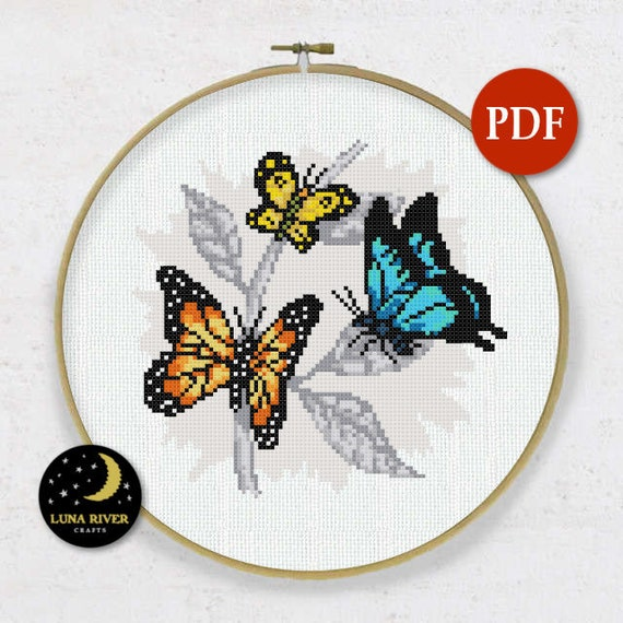 Fly on the wall Counted Cross Stitch PDF Pattern Instant Download Needlepoint Decoration Stitching Printable Digital Chart Embroidery Insect