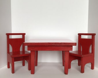 Doll Furniture   Formica Table With Two Chairs   Vintage