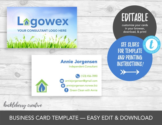 Norwex Compatible Business Cards Template Norwex Consultant Etsy