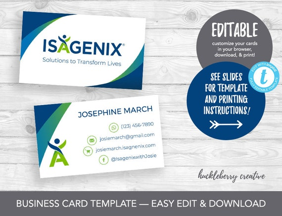Isagenix business cards template isagenix independent etsy image 0 fbccfo Choice Image