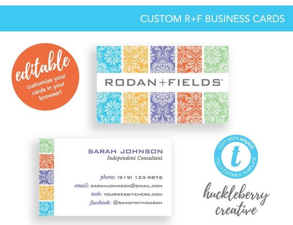 Rodan fields business cards template rodan and fields skin etsy image 0 fbccfo Choice Image