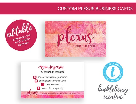 Plexus Business Cards Template Ambassador 35x2 Easy