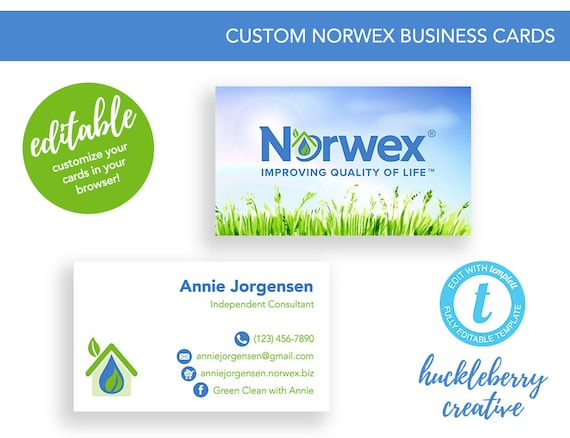 Norwex business cards template norwex consultant 35x2 easy etsy image 0 colourmoves