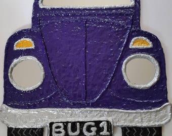 VW Beetle Mirror, Volkswagen Bug Mirror in Purple