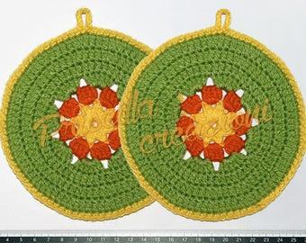Handmade crochet pot holders pair made