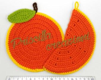 Pair of orange-shaped crochet pot holders