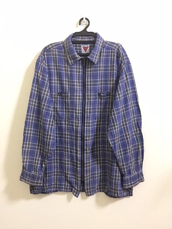 Vintage Japanese nova checkered Zipper Outwear Shi