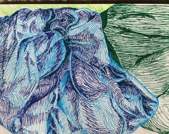 Blue & Green Fabric Drawing