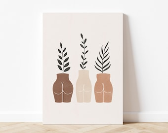 Butt Vases & Plants, Body Positive Art Print, Abstract Body and Plant Illustration, Neutral Boho Wall Art, Digital Download, Printable Art