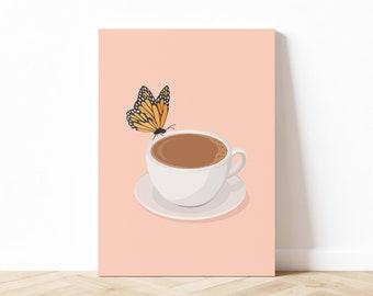 Butterfly & Coffee Illustration, Coffee Art Print, Butterfly Wall Art, Coffee Lover Art, Kitchen Art Print, Digital Download, Printable Art