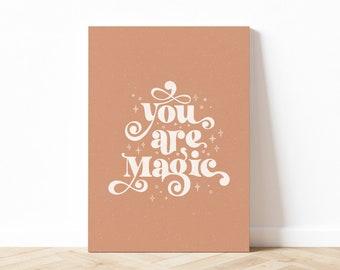 You Are Magic Quote Art Print, Self Love Art Print, Witchy Fall Wall Art, Aesthetic Quote Art Print, Digital Download, Printable Art
