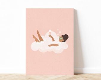 Cloud Bath Illustration, Self Love Body Positive Wall Art, Bathroom Wall Art, Feminine Art Print, Wine Art, Digital Download, Printable Art