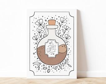 Coffee Potion Illustration Art Print, Tarot Inspired Coffee Art, Coffee Wall Art, Fall Wall Art, Digital Download, Printable Art