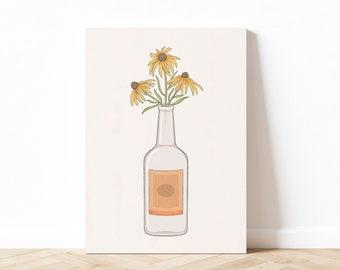 Vodka & Flowers Art Print, Vodka Wall Art, Vodka Poster, Alcohol Wall Art, College Wall Art, Dorm Art, Printable Art, Digital Download