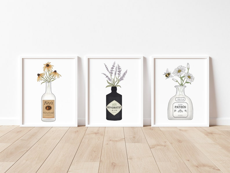 Liquor & Flowers Set of Three Titos Vodka Hendrick's image 0