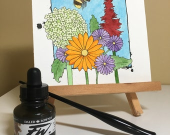 Flowers with a Bee Watercolour