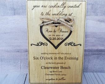 Wedding invitation pagan Rustic barn boho modern woodland engraved wooden