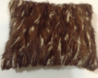 """Multi Colored Mink and Leather Accent Pillow  9""""x11"""""""