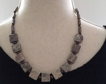 Stone and metal beaded necklace