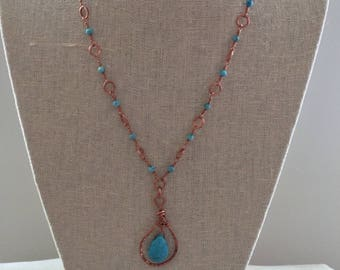 Copper wire necklace with turquoise colored beads
