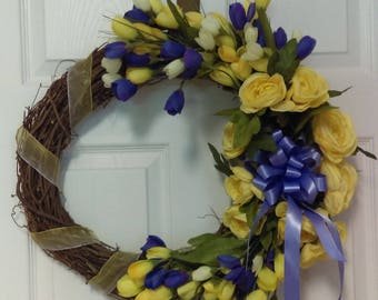 Yellow and purple crocus wreath