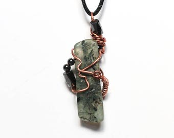 African Turquoise and Hematite Pendant