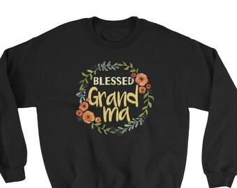Blessed Grandma Sweatshirt, Grandma Gift, Granny Shirt, Mothers Day Crew Neck Sweatshirt