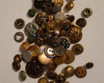 Vintage Metal Buttons - Lot of Metal Buttons - Lot of 55 Misc. Vintage Metal Buttons - Great for Button Crafts - Craft Supplies