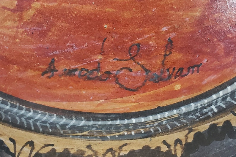 Hand Painted 1950s Amado Galvan Charger Signed Vintage Tonala Pottery