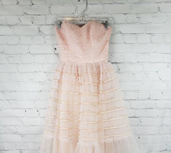 1950s Strapless Baby Pink Tulle Dress - XS
