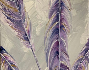 Grape Feathers, Abstract Original Fluid sTring Pull Painting 8x8 stretched canvas
