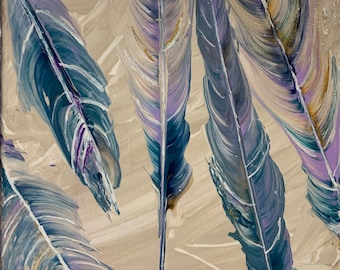 Cold Feathers, Abstract Original Fluid sTring Pull Painting 8x8 stretched canvas