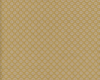 Waxed canvas cotton yellow ochre mustard pattern small flowers, sold a cut by multiple of 10cm