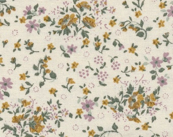 Oilcloth ecru cotton coated with floral print pattern liberty style small flowers purple and ocher yellow, sold in multiples of 10cm (X 142cm)