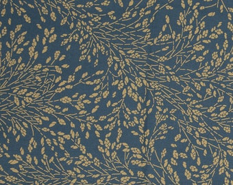 Blue waxed duck pattern pattern printed ochre foliage, oil blue leaf pattern coating, sold a multiple cut of 10cm