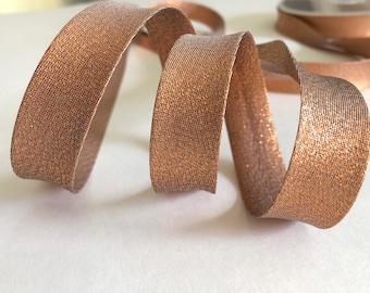 Lurex gold gold bias COPPER metallic pre folded 20mm wide, sold per metre