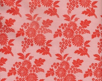 Oilcloth cotton retro pattern printed flowers red on pink, vintage style tablecloth, sold by multiples of 10cm