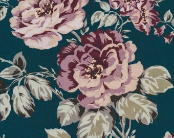 Waxed cotton canvas coated floral pattern bouquets of roses on pink old creation tablecloths, sold a cut by multiple of 10cm