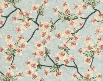 Japanese printed cotton canvas pattern apple blossoms on turquoise blue coated satin finish sold by multiples of 10cm