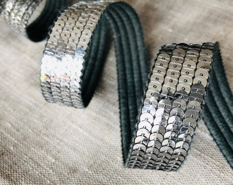Galon ribbon sequins round SEquins ARGENT GRIS PARLE metallic on 4 rows, sold to the cut by multiples of 20cm