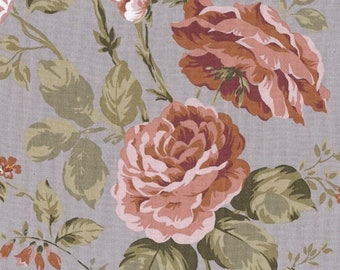 Oilcloth in gray cotton with pink print pattern for making tablecloth, sold in multiples of 10cm