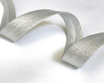 Bias in Lurex metallic silver, bias silver folded with 2 folds width 18mm, sold by the meter