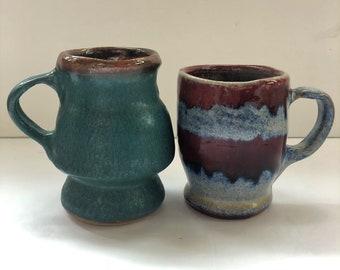 Hand Made Pottery Coffee Mugs Set of 2