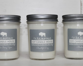 Soy Candles (3) | Mason Jar Candles | Scented Candles | White Buffalo | Farmhouse Candles | Buffalo Gifts | Buffalo Decor | Candle Gift Set