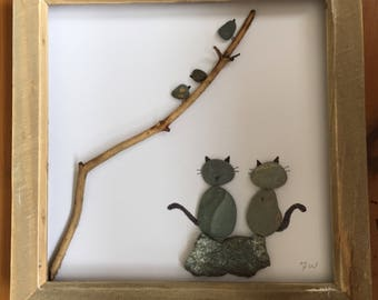 Bird Watching - Pebble art picture