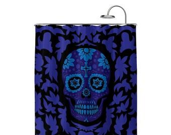 Dia De Muertos Black Shower Curtain