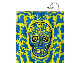 Dia De Muertos Yellow Shower Curtain