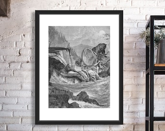Visitation Black and White Digital Collage Giclee Art Print