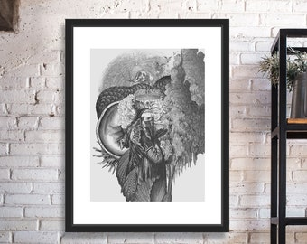 Prophetess Black and White Digital Collage Giclee Art Print