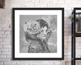 Courtesan With Peonies Black and White Digital Collage Giclee Art Print